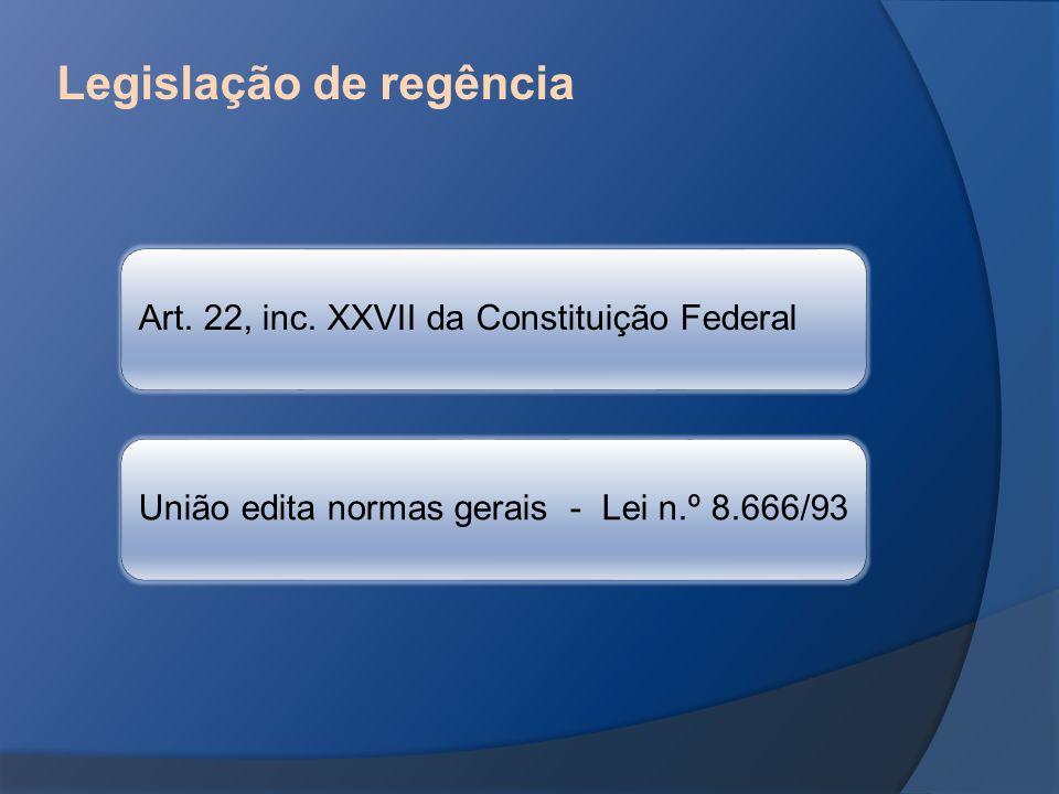 Legislação de regência Art. 22, inc. XXVII da Constituição Federal União edita normas gerais - Lei n.º 8.666/93
