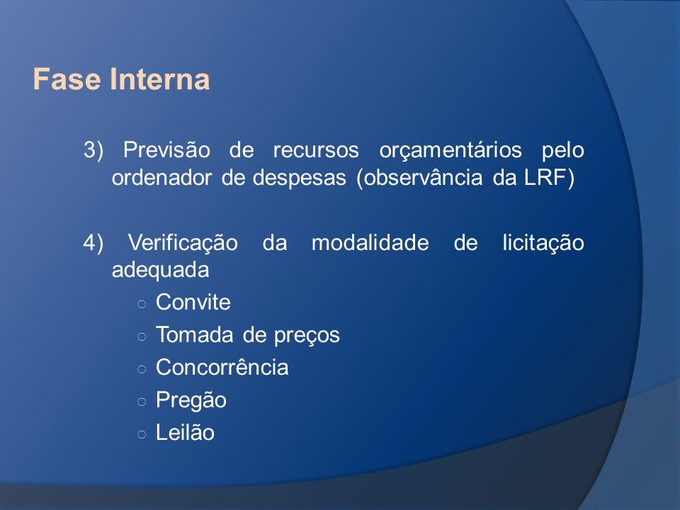 Fase Interna 3) Previsão de recursos orçamentários pelo ordenador de despesas (observância da LRF) 4) Verificação da modalidade de licitação adequada