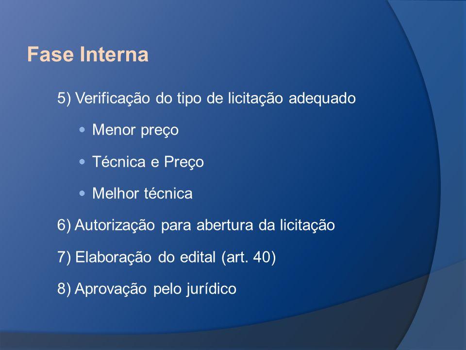 5) Verificação do tipo de licitação adequado Menor preço Técnica e Preço Melhor técnica 6) Autorização para abertura da licitação 7) Elaboração do edi