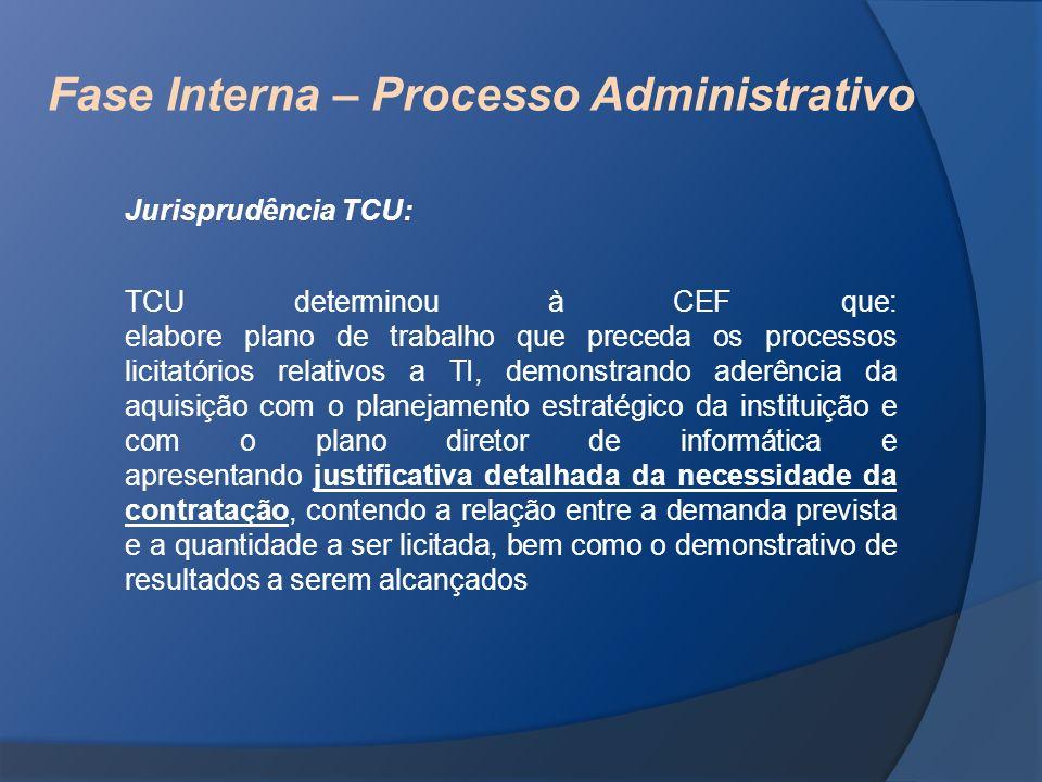 Fase Interna – Processo Administrativo Jurisprudência TCU: TCU determinou à CEF que: elabore plano de trabalho que preceda os processos licitatórios r