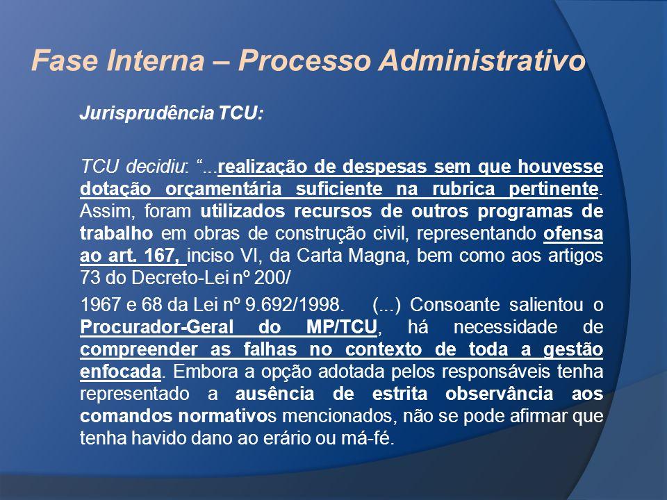 Fase Interna – Processo Administrativo Jurisprudência TCU: TCU decidiu:...realização de despesas sem que houvesse dotação orçamentária suficiente na r