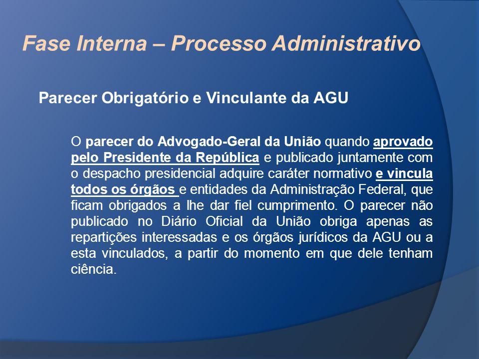 Fase Interna – Processo Administrativo Parecer Obrigatório e Vinculante da AGU O parecer do Advogado-Geral da União quando aprovado pelo Presidente da