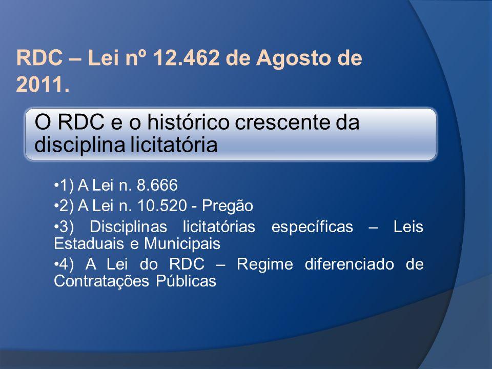 RDC – Lei nº 12.462 de Agosto de 2011. O RDC e o histórico crescente da disciplina licitatória 1) A Lei n. 8.666 2) A Lei n. 10.520 - Pregão 3) Discip