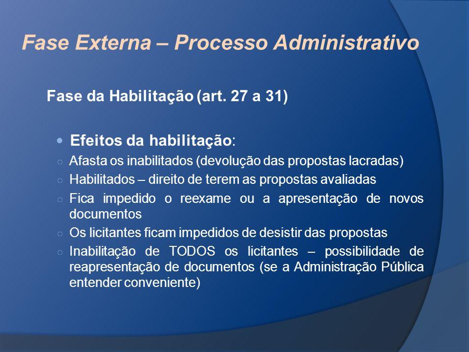 Fase Externa – Processo Administrativo Fase da Habilitação (art. 27 a 31) Efeitos da habilitação: Afasta os inabilitados (devolução das propostas lacr