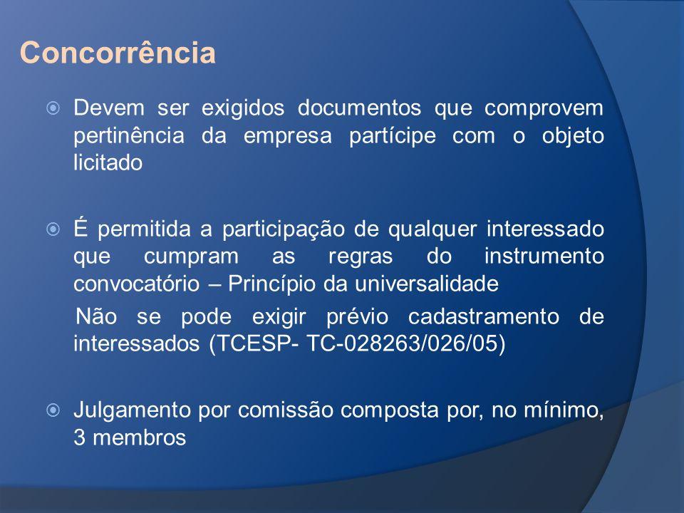 Devem ser exigidos documentos que comprovem pertinência da empresa partícipe com o objeto licitado É permitida a participação de qualquer interessado