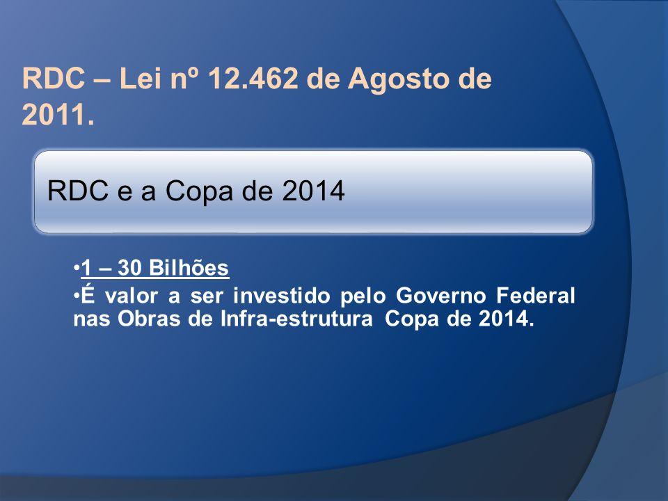RDC – Lei nº 12.462 de Agosto de 2011. RDC e a Copa de 2014 1 – 30 Bilhões É valor a ser investido pelo Governo Federal nas Obras de Infra-estrutura C