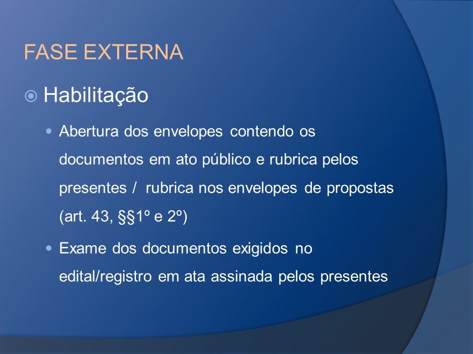 FASE EXTERNA Habilitação Abertura dos envelopes contendo os documentos em ato público e rubrica pelos presentes / rubrica nos envelopes de propostas (