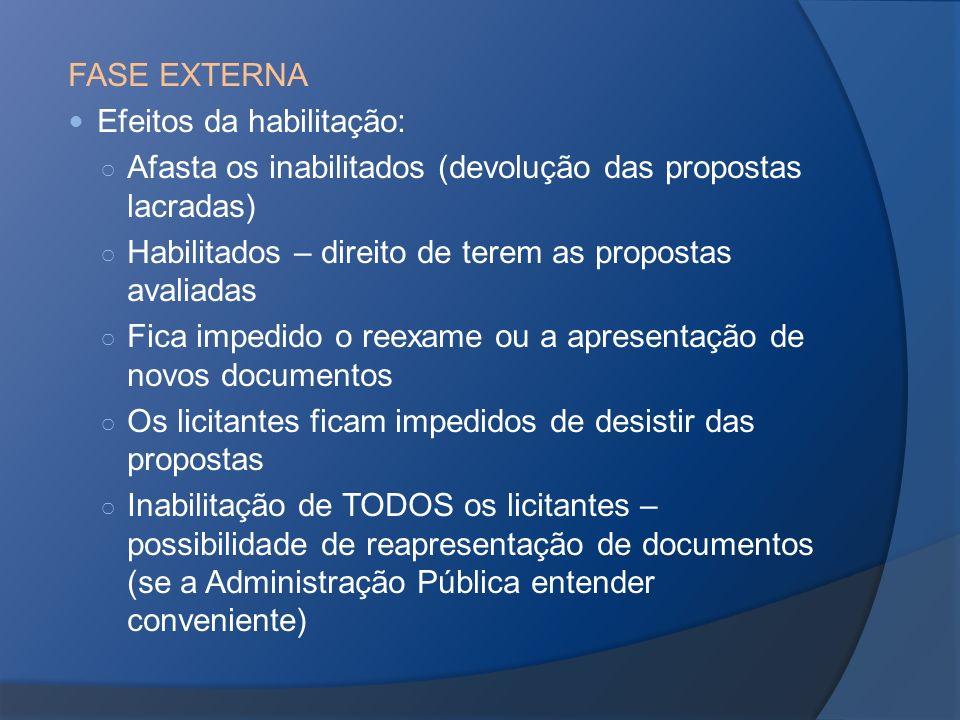 FASE EXTERNA Efeitos da habilitação: Afasta os inabilitados (devolução das propostas lacradas) Habilitados – direito de terem as propostas avaliadas F