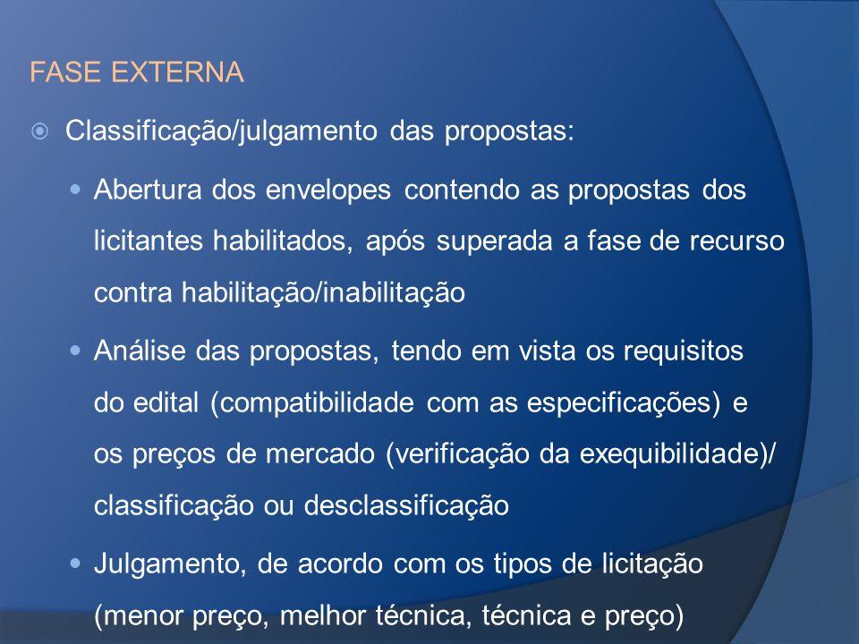 FASE EXTERNA Classificação/julgamento das propostas: Abertura dos envelopes contendo as propostas dos licitantes habilitados, após superada a fase de