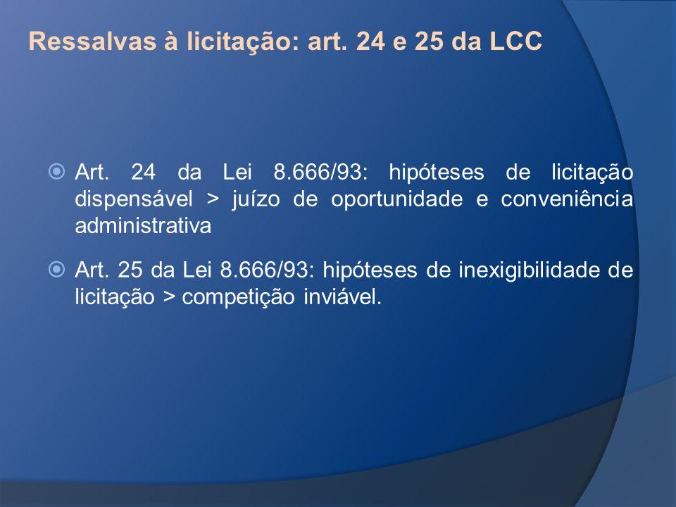 Ressalvas à licitação: art. 24 e 25 da LCC Art. 24 da Lei 8.666/93: hipóteses de licitação dispensável > juízo de oportunidade e conveniência administ
