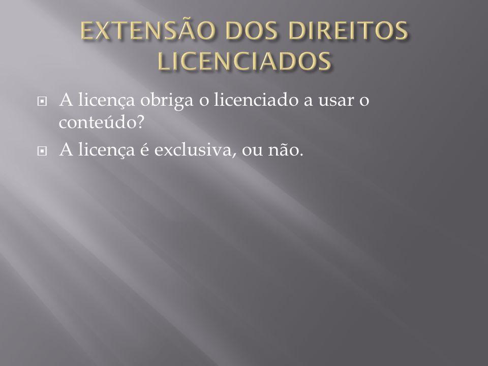 A licença obriga o licenciado a usar o conteúdo A licença é exclusiva, ou não.