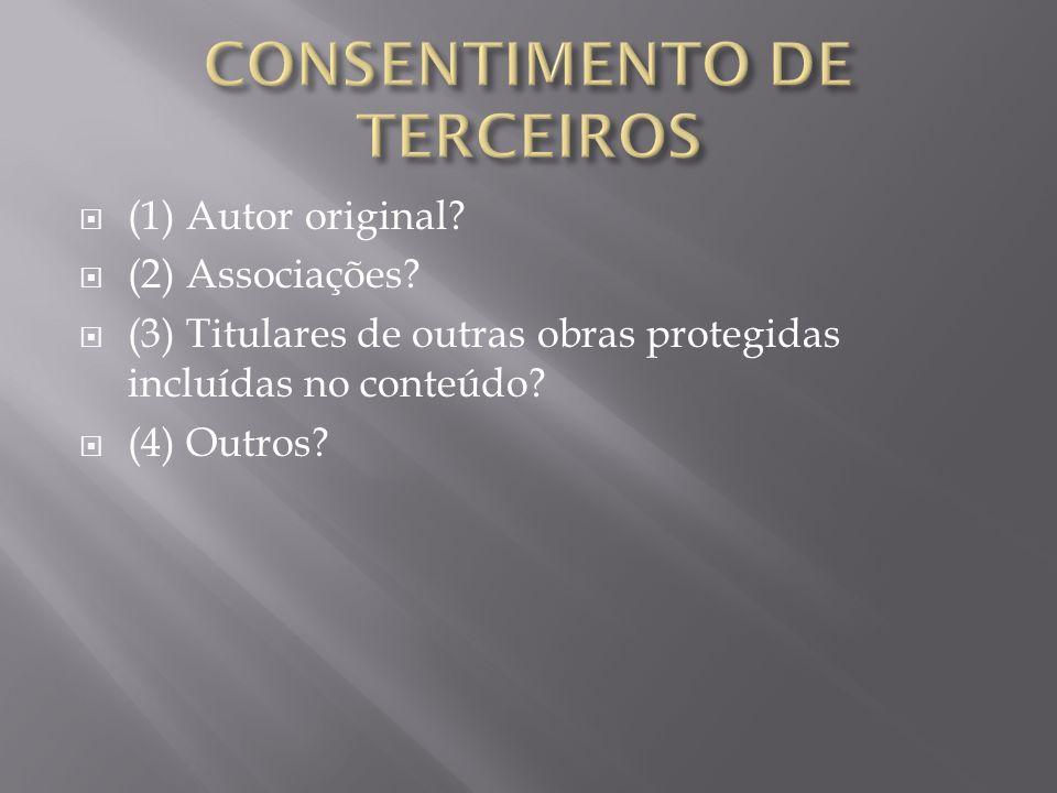 (1) Autor original. (2) Associações.