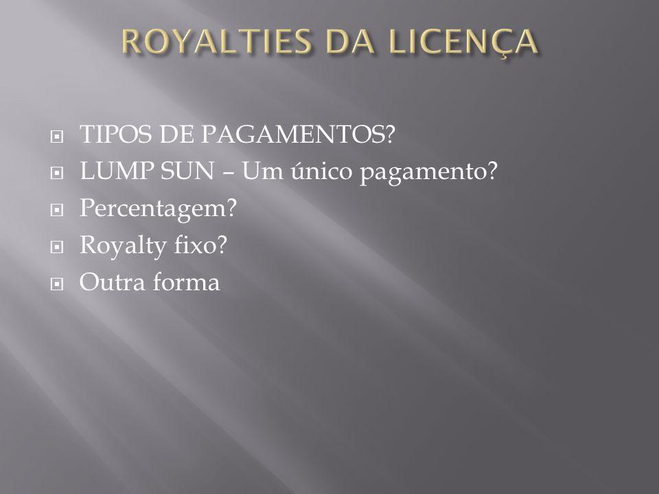 TIPOS DE PAGAMENTOS? LUMP SUN – Um único pagamento? Percentagem? Royalty fixo? Outra forma