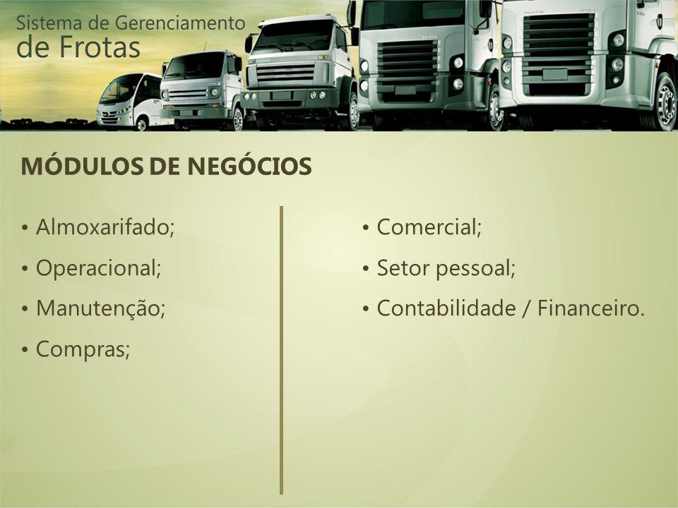 MÓDULOS DE NEGÓCIOS Almoxarifado; Operacional; Manutenção; Compras; Comercial; Setor pessoal; Contabilidade / Financeiro.