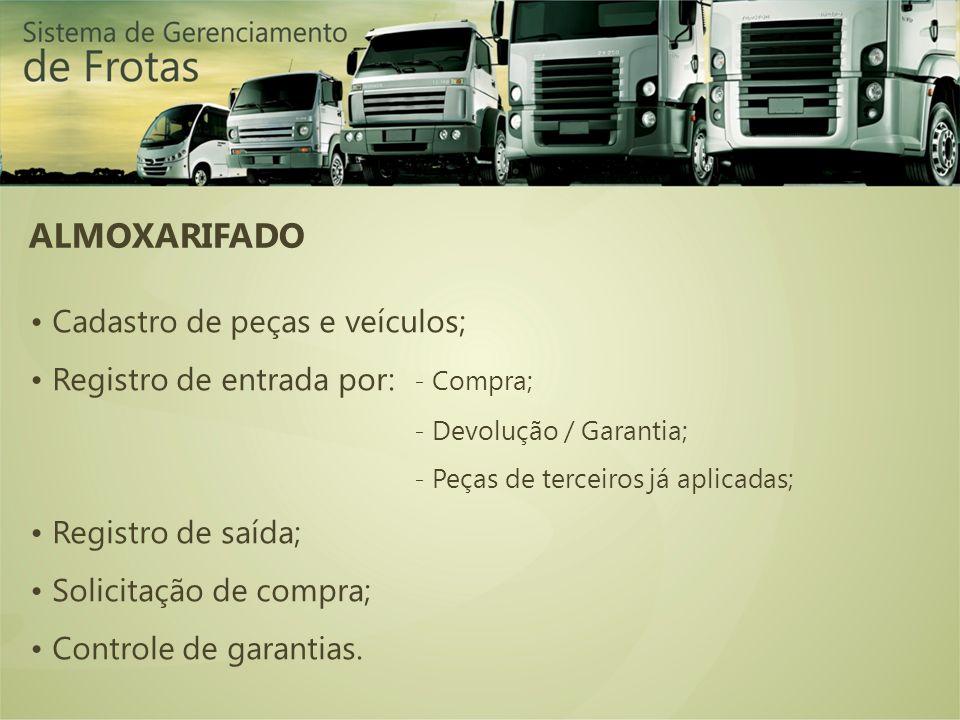 ALMOXARIFADO Cadastro de peças e veículos; Registro de entrada por: - Compra; - Devolução / Garantia; - Peças de terceiros já aplicadas; Registro de saída; Solicitação de compra; Controle de garantias.