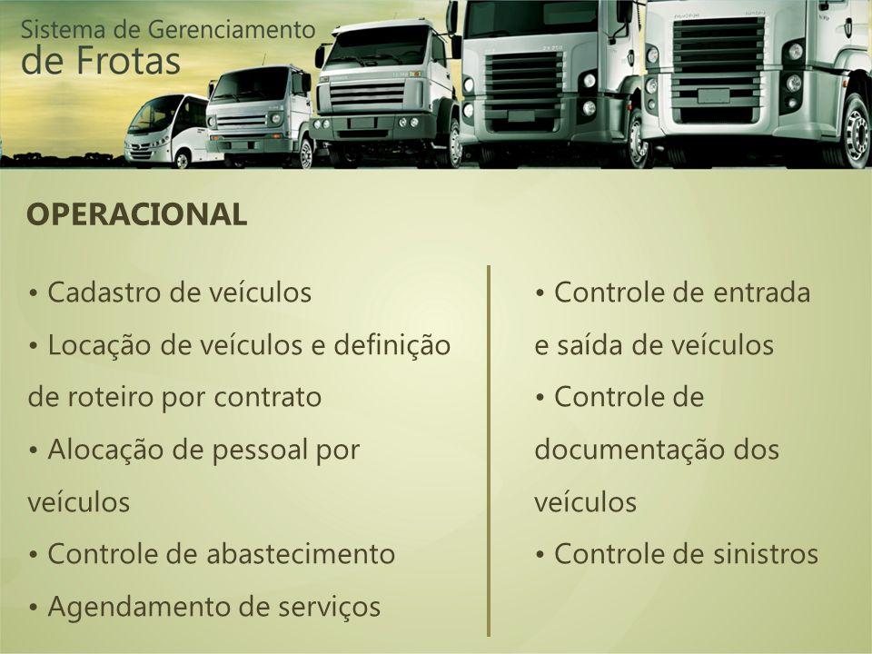 OPERACIONAL Cadastro de veículos Locação de veículos e definição de roteiro por contrato Alocação de pessoal por veículos Controle de abastecimento Agendamento de serviços Controle de entrada e saída de veículos Controle de documentação dos veículos Controle de sinistros
