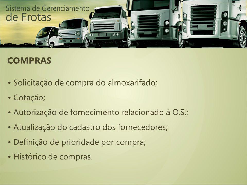 COMPRAS Solicitação de compra do almoxarifado; Cotação; Autorização de fornecimento relacionado à O.S.; Atualização do cadastro dos fornecedores; Defi