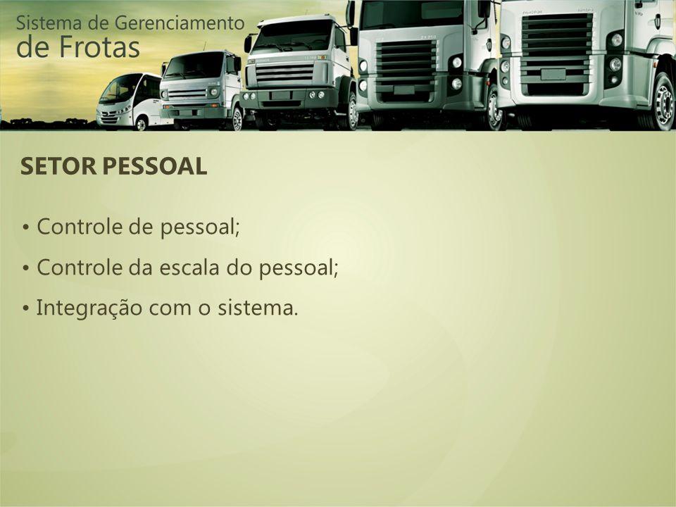SETOR PESSOAL Controle de pessoal; Controle da escala do pessoal; Integração com o sistema.