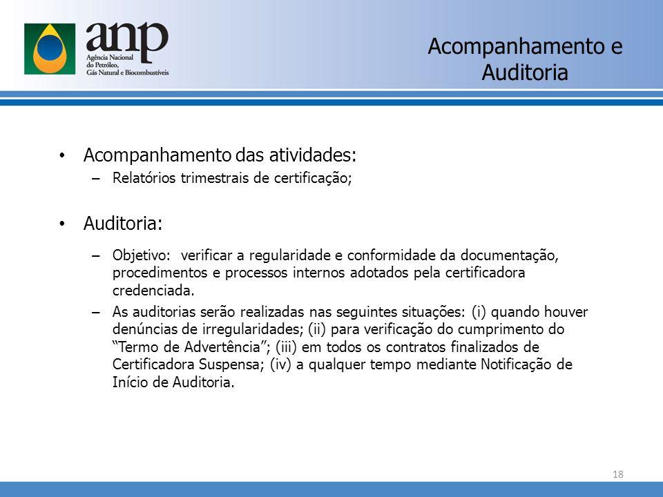 Acompanhamento e Auditoria Acompanhamento das atividades: – Relatórios trimestrais de certificação; Auditoria: – Objetivo: verificar a regularidade e