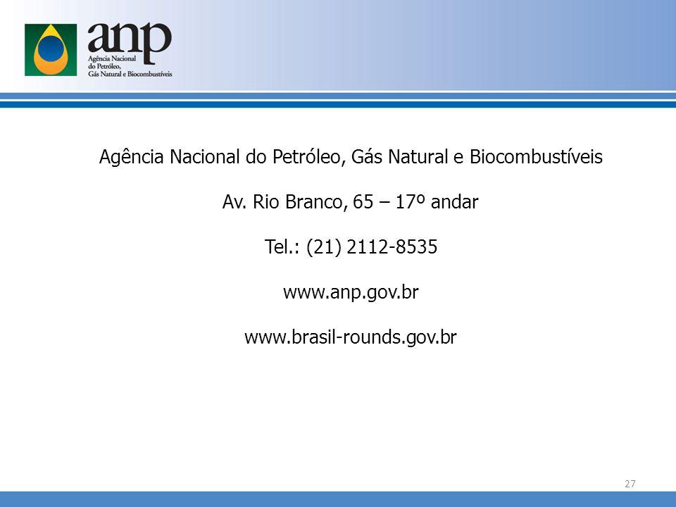 Agência Nacional do Petróleo, Gás Natural e Biocombustíveis Av. Rio Branco, 65 – 17º andar Tel.: (21) 2112-8535 www.anp.gov.br www.brasil-rounds.gov.b