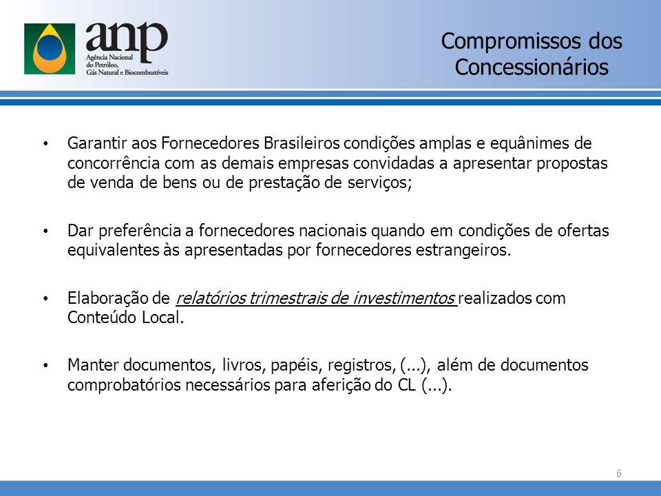 Compromissos dos Concessionários Garantir aos Fornecedores Brasileiros condições amplas e equânimes de concorrência com as demais empresas convidadas