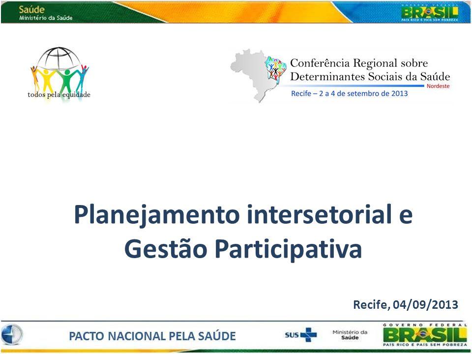 Planejamento intersetorial e Gestão Participativa Recife, 04/09/2013