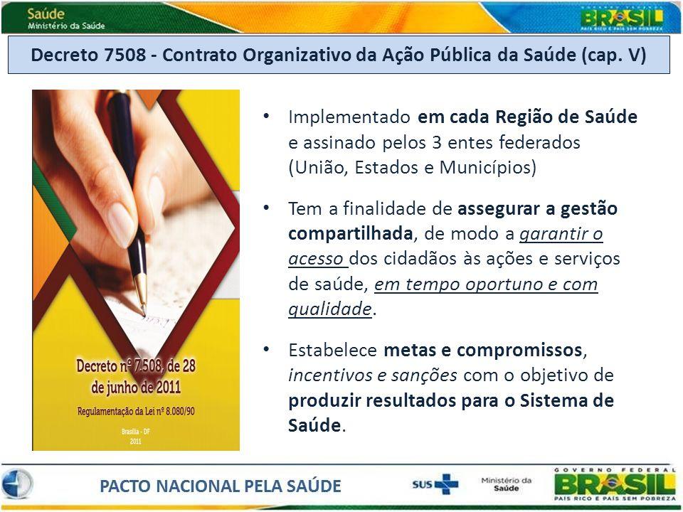 Decreto 7508 - Contrato Organizativo da Ação Pública da Saúde (cap. V) Implementado em cada Região de Saúde e assinado pelos 3 entes federados (União,
