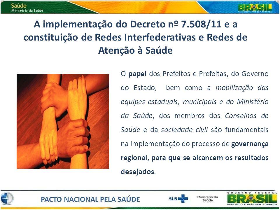 A implementação do Decreto nº 7.508/11 e a constituição de Redes Interfederativas e Redes de Atenção à Saúde O papel dos Prefeitos e Prefeitas, do Gov