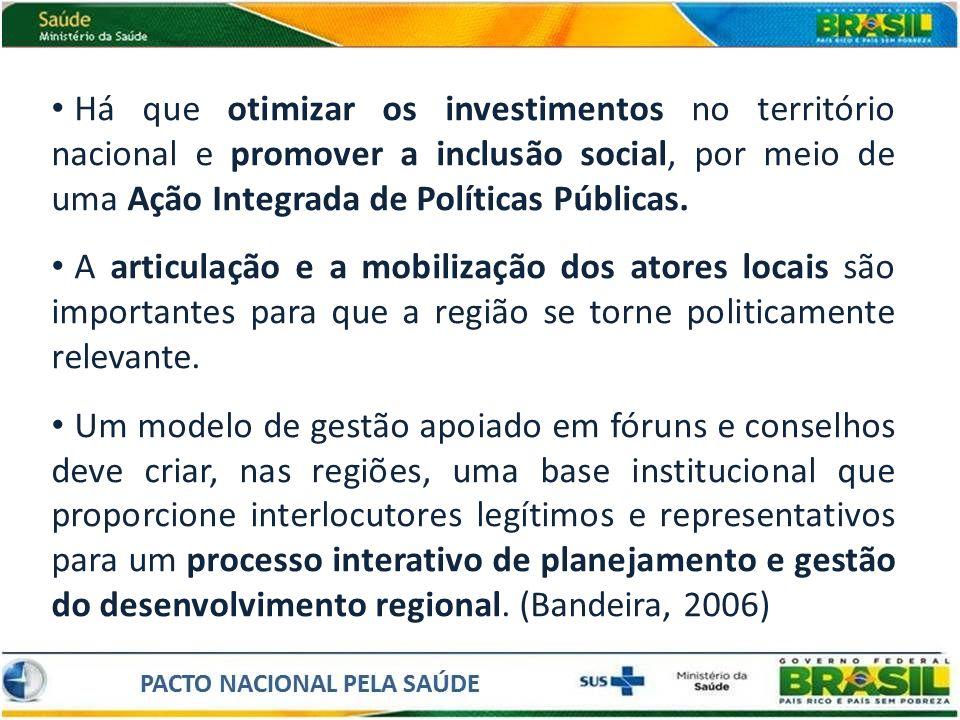 Há que otimizar os investimentos no território nacional e promover a inclusão social, por meio de uma Ação Integrada de Políticas Públicas. A articula