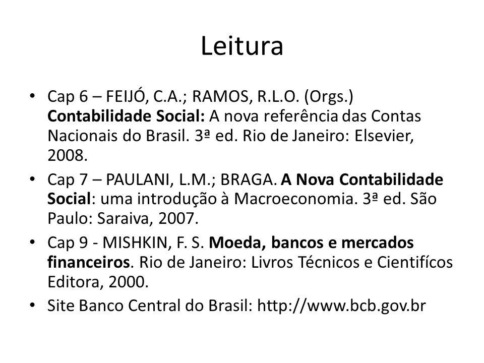 Leitura Cap 6 – FEIJÓ, C.A.; RAMOS, R.L.O. (Orgs.) Contabilidade Social: A nova referência das Contas Nacionais do Brasil. 3ª ed. Rio de Janeiro: Else