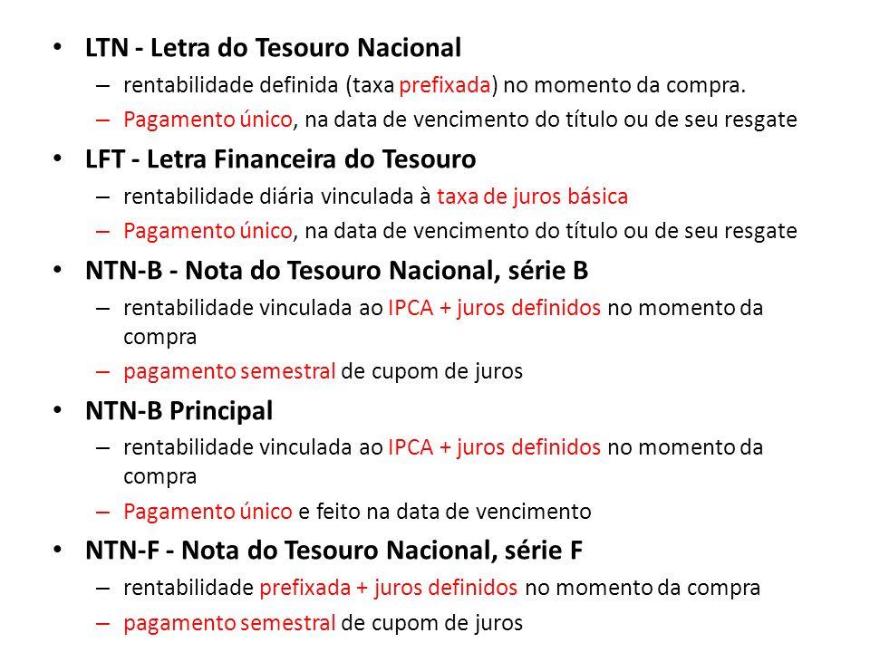 LTN - Letra do Tesouro Nacional – rentabilidade definida (taxa prefixada) no momento da compra. – Pagamento único, na data de vencimento do título ou