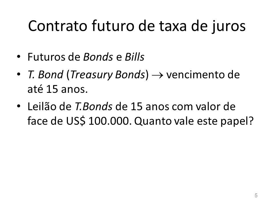 5 Futuros de Bonds e Bills T. Bond (Treasury Bonds) vencimento de até 15 anos. Leilão de T.Bonds de 15 anos com valor de face de US$ 100.000. Quanto v