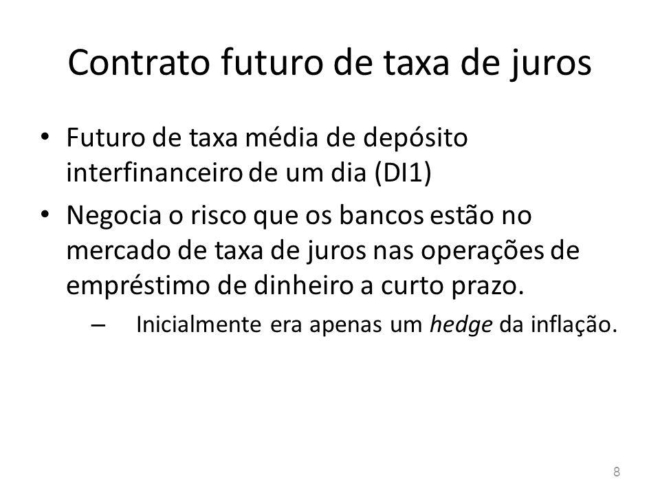 8 Contrato futuro de taxa de juros Futuro de taxa média de depósito interfinanceiro de um dia (DI1) Negocia o risco que os bancos estão no mercado de