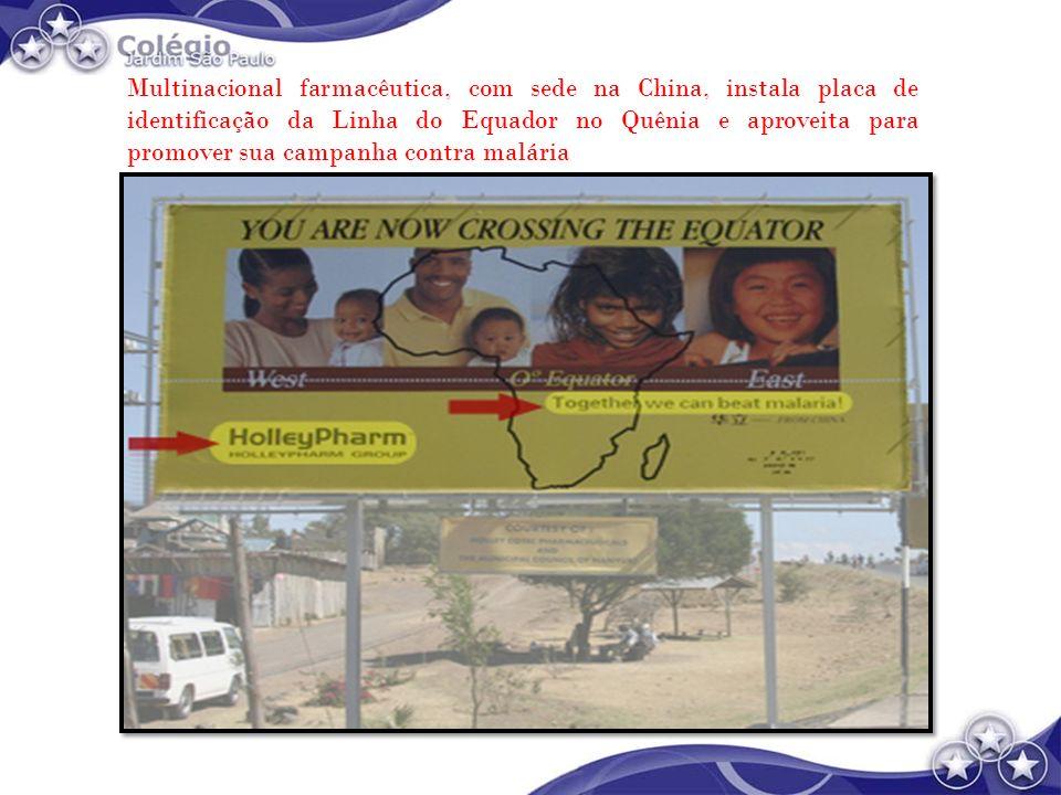 Multinacional farmacêutica, com sede na China, instala placa de identificação da Linha do Equador no Quênia e aproveita para promover sua campanha con