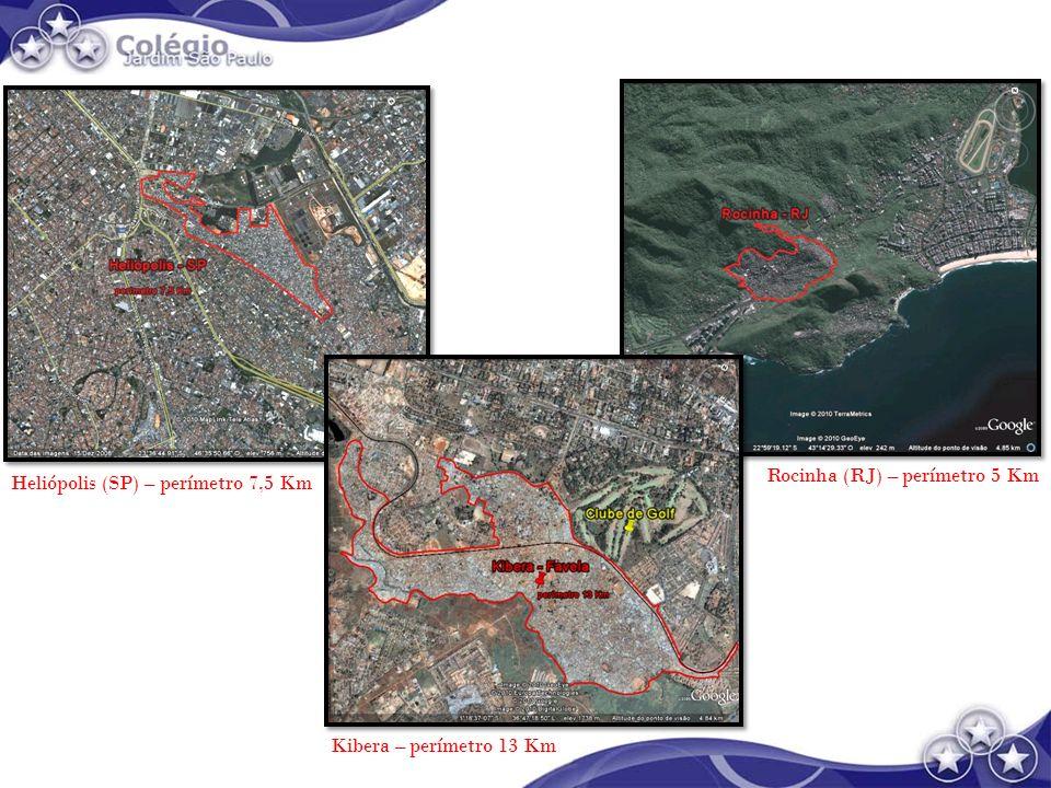 Rocinha (RJ) – perímetro 5 Km Heliópolis (SP) – perímetro 7,5 Km Kibera – perímetro 13 Km