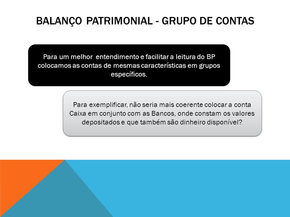 BALANÇO PATRIMONIAL - GRUPO DE CONTAS Para um melhor entendimento e facilitar a leitura do BP colocamos as contas de mesmas características em grupos