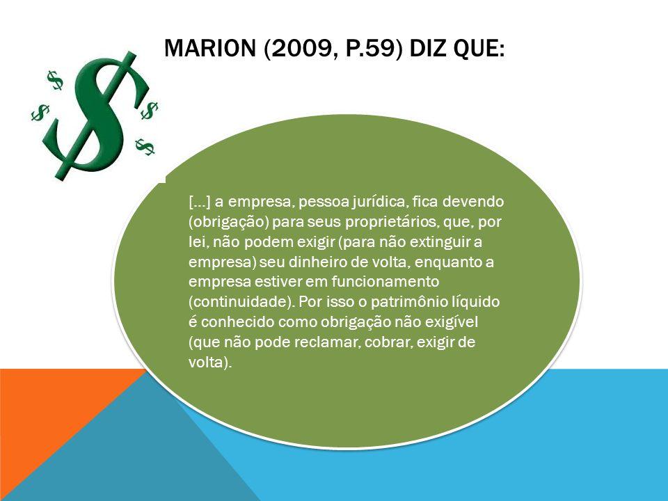 MARION (2009, P.59) DIZ QUE: [...] a empresa, pessoa jurídica, fica devendo (obrigação) para seus proprietários, que, por lei, não podem exigir (para