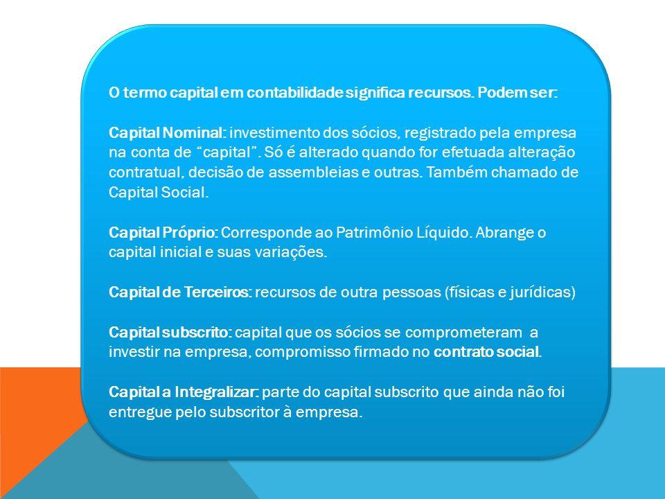 O termo capital em contabilidade significa recursos. Podem ser: Capital Nominal: investimento dos sócios, registrado pela empresa na conta de capital.