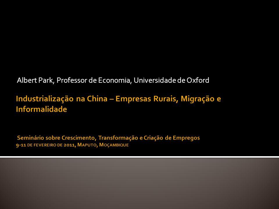 Industrialização e crescimento equilibrado Desenvolvimento de empresas rurais Comparação com Taiwan Abertura para o mundo externo Migração e urbanização Regulamentação do trabalho e mercado de trabalho informal Conclusões: lições para Moçambique