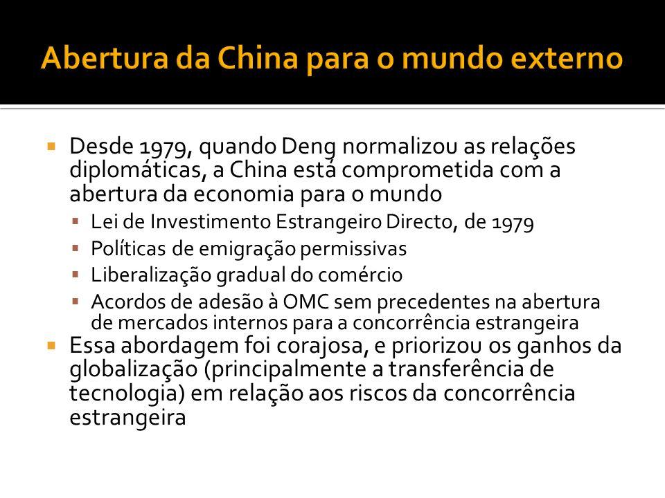 Desde 1979, quando Deng normalizou as relações diplomáticas, a China está comprometida com a abertura da economia para o mundo Lei de Investimento Estrangeiro Directo, de 1979 Políticas de emigração permissivas Liberalização gradual do comércio Acordos de adesão à OMC sem precedentes na abertura de mercados internos para a concorrência estrangeira Essa abordagem foi corajosa, e priorizou os ganhos da globalização (principalmente a transferência de tecnologia) em relação aos riscos da concorrência estrangeira