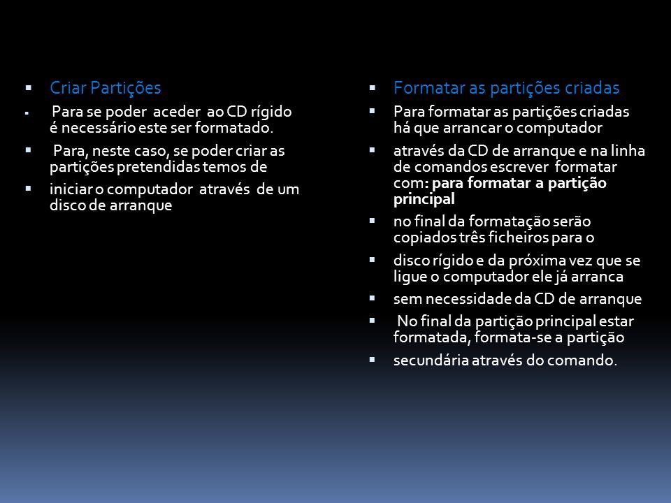 Criar Partições Para se poder aceder ao CD rígido é necessário este ser formatado.