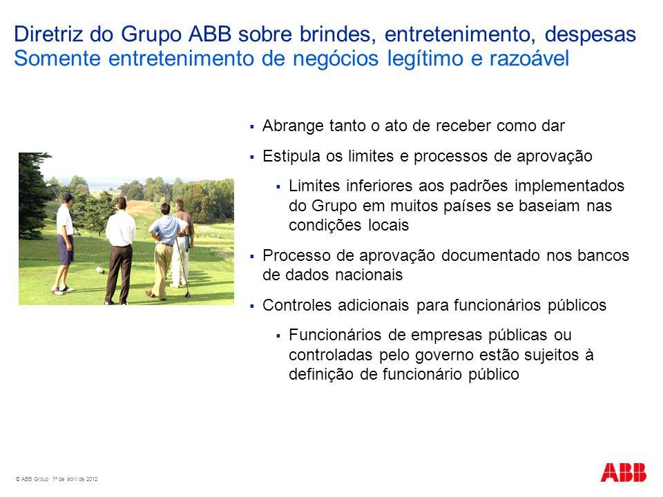 Diretriz do Grupo ABB sobre brindes, entretenimento, despesas Somente entretenimento de negócios legítimo e razoável Abrange tanto o ato de receber co