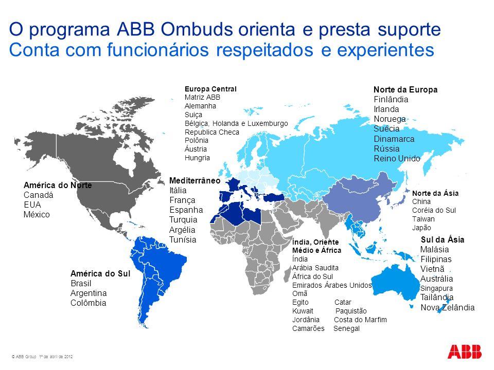 O programa ABB Ombuds orienta e presta suporte Conta com funcionários respeitados e experientes América do Norte Canadá EUA México América do Sul Bras