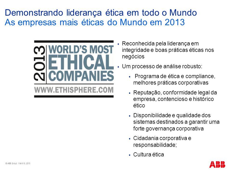 Demonstrando liderança ética em todo o Mundo As empresas mais éticas do Mundo em 2013 Reconhecida pela liderança em integridade e boas práticas éticas