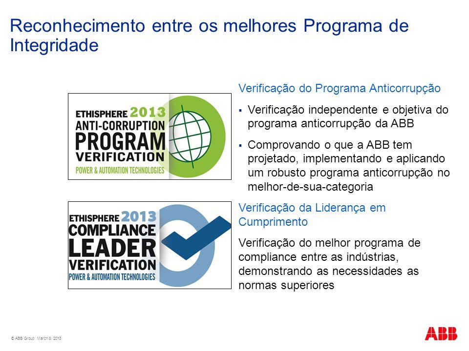 Reconhecimento entre os melhores Programa de Integridade © ABB Group March 8, 2013 Verificação do Programa Anticorrupção Verificação independente e ob