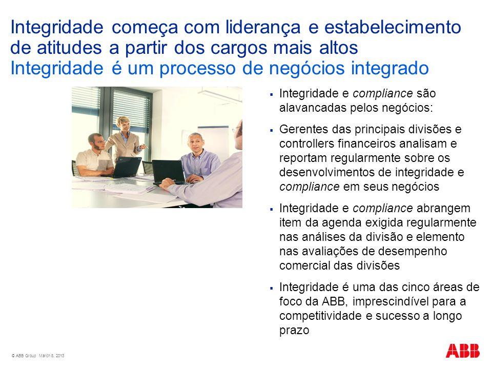 © ABB Group March 8, 2013 Integridade começa com liderança e estabelecimento de atitudes a partir dos cargos mais altos Integridade é um processo de n