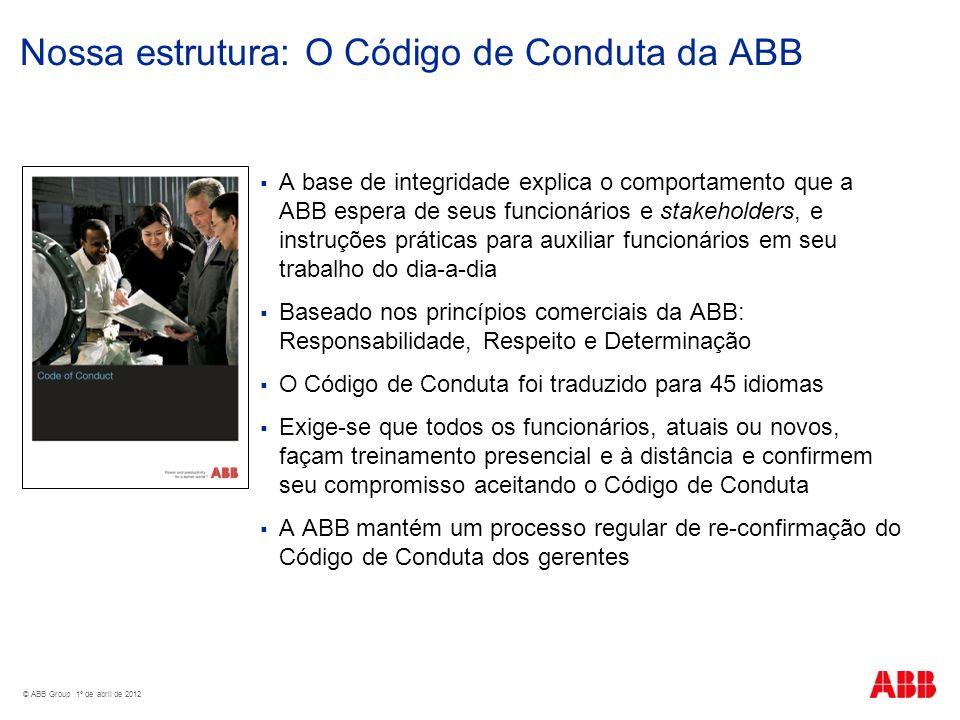 Nossa estrutura: O Código de Conduta da ABB A base de integridade explica o comportamento que a ABB espera de seus funcionários e stakeholders, e inst