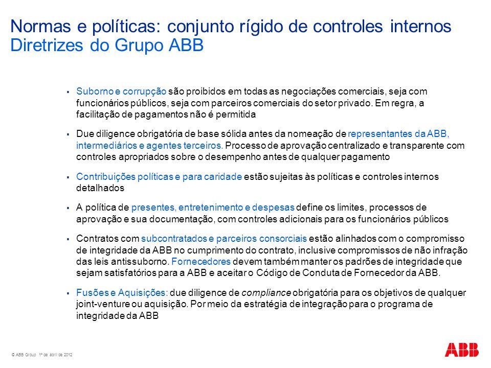 Normas e políticas: conjunto rígido de controles internos Diretrizes do Grupo ABB Suborno e corrupção são proibidos em todas as negociações comerciais