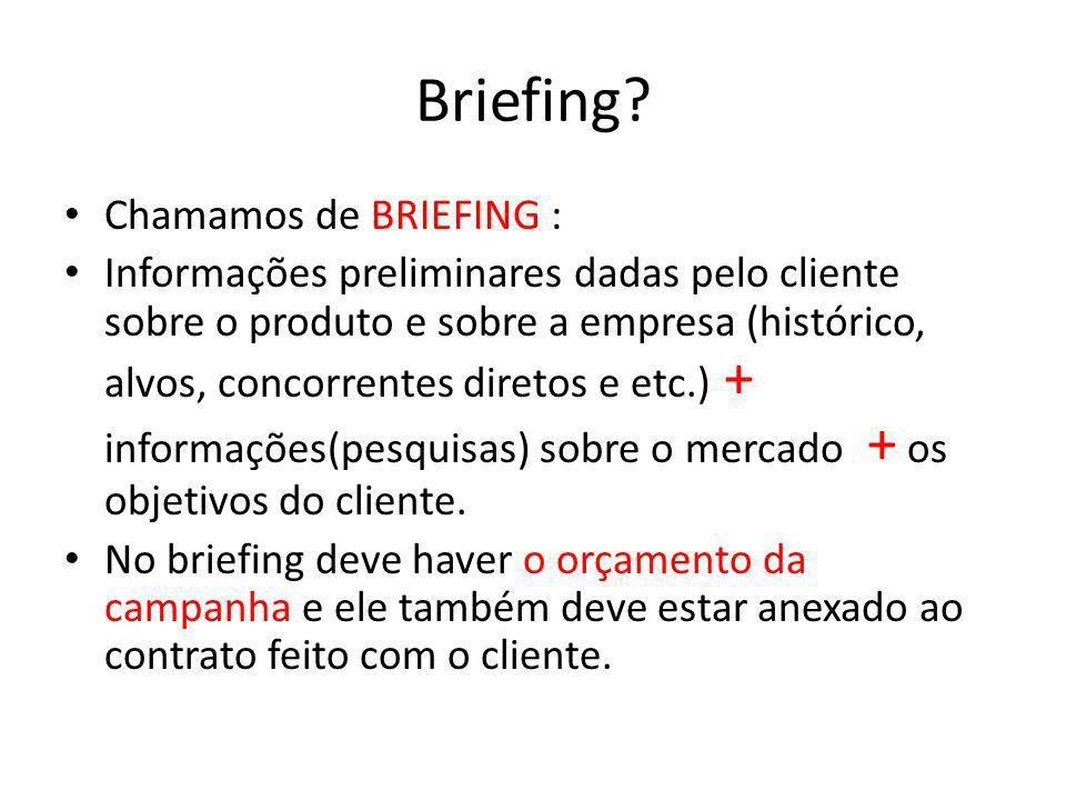 Briefing? Chamamos de BRIEFING : Informações preliminares dadas pelo cliente sobre o produto e sobre a empresa (histórico, alvos, concorrentes diretos