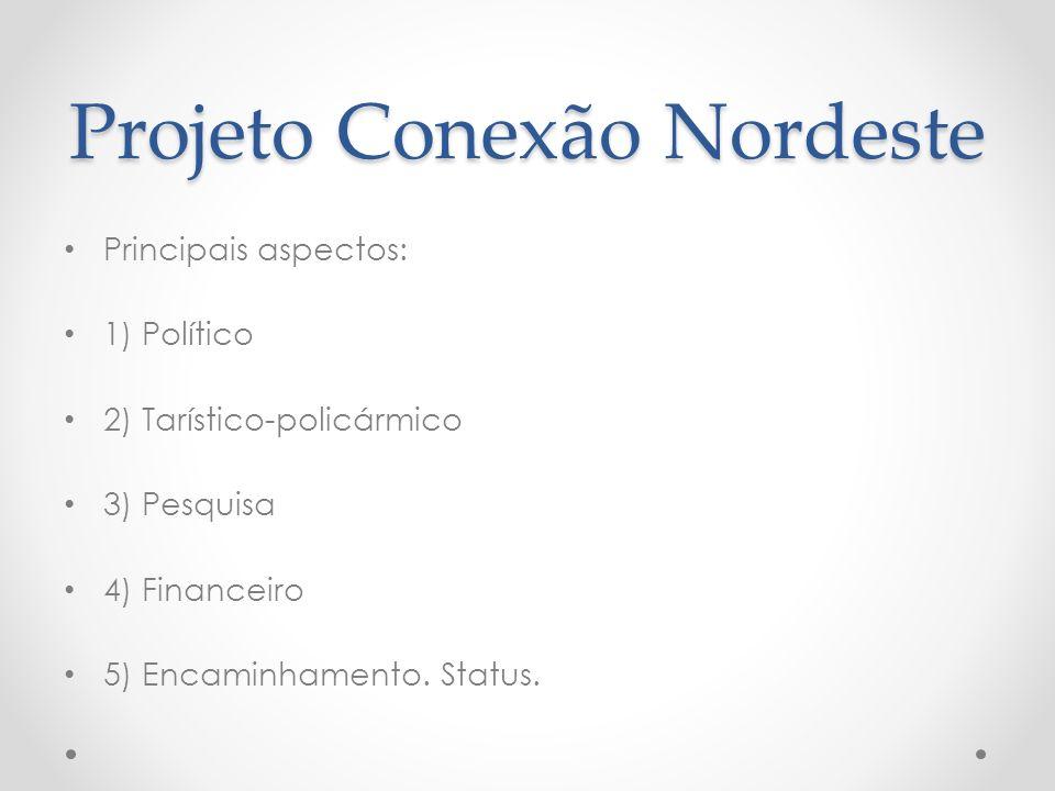 Projeto Conexão Nordeste Principais aspectos: 1) Político 2) Tarístico-policármico 3) Pesquisa 4) Financeiro 5) Encaminhamento.